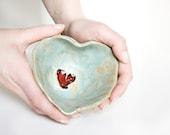 aqua green HEART BOWL, stoneware serving dish, decorative trinket pot, handshaped pottery by karoArt ceramics, Ireland