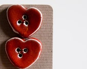 red heart BUTTONS, smooth, vivid, shiny handmade ceramic button set, valentines day gift for her under 20