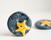 Single art ceramic button, STARRY NIGHT, one large handmade button, metallic blue and yellow, knitwear, needlecraft accessory