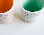 Neon Tumbler Set, pair of dotted, modern ceramic cups, teal green and bright orange by karoArt ceramics, handmade in Ireland