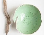 knitting yarn bowl, modern, minimalist beige and mint green pottery bowl, handmade ceramic dish by karoArt