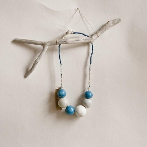 Ceramic Nautical Art Necklace, elegant, organic, bold bead jewellery handmad in Ireland by karoArt