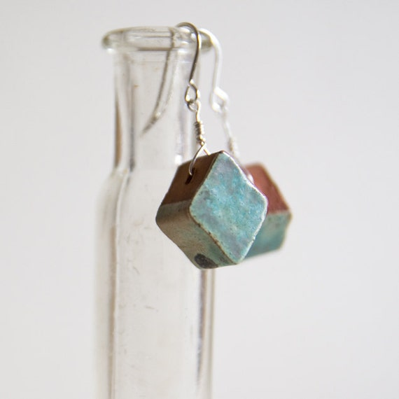 GEOMETRIC bead earnings, celadon green and terracotta, handmade ceramic jewellery by karoArt