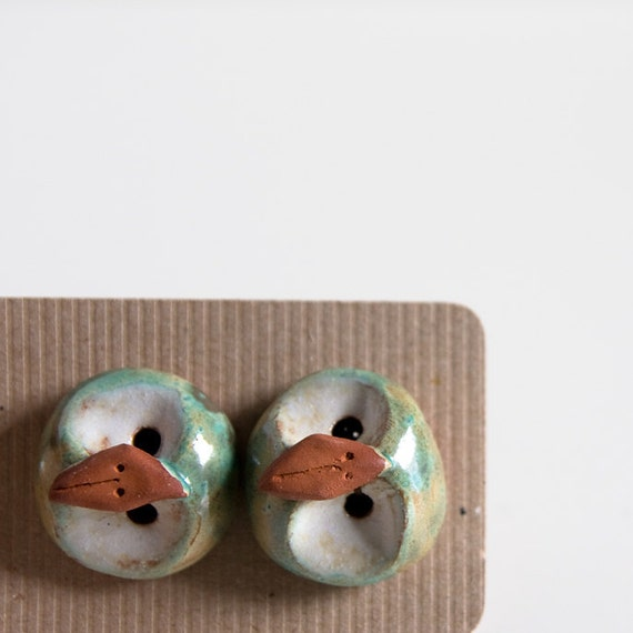 large ceramic OWLS, celadon green ceramic animal buttons, handshaped in terracotta, unique pottery by karoart, Ireland