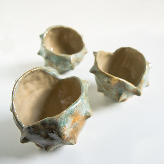 SECONDS SALE, 25% off, chestnut bowl, stoneware sculptural dish, cedar green and beige, handbuilt pottery by karoArt ceramics, Ireland