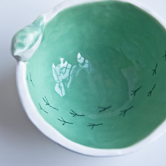 15% OFF Seconds Sale. TWEET BOWL, small, pastel green and white, modern serving bowl, spring home decor, mother's day gift made in Ireland