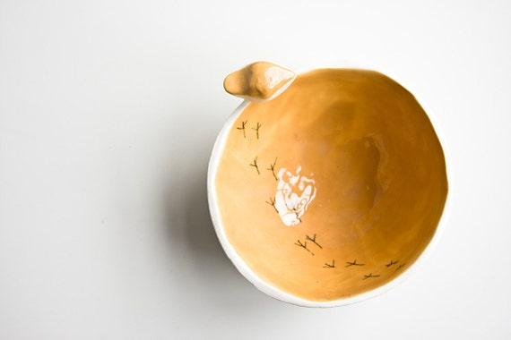 TWEET BOWL, small, orange and white ceramic dish, modern, minimalist and quirky pottery bowl, handmade in Ireland by karoArt ceramics