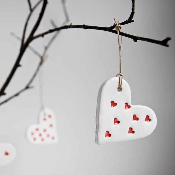 ceramic heart ornaments home decor wedding favour by karoart