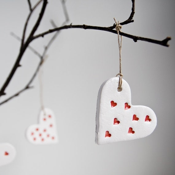 ceramic heart ornaments, home decor, wedding favour, christmas tree ornament, white and red pottery hearts by karoArt ceramics
