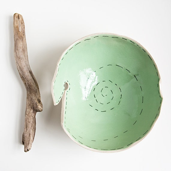 knitting yarn bowl, modern, minimalist beige and mint green pottery bowl, handmade ceramic dish by karoArt