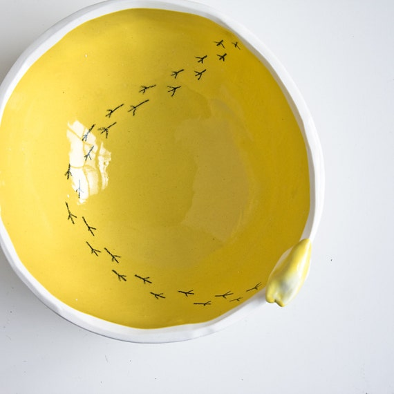 TWEET BOWL, bright yellow, large and deep, modern serving bowl, spring summer home decor by karoArt, Irish pottery