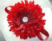 Baby Flower Headband, Baby Headband, Girl Flower Headband, Headband / Ruby Red Flower Headband (Detachable) Flower Clip with Red Headband