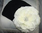 Baby Flower Beanie, Flower Clip, Baby Beanie, Childrens Hat, Baptism, Christening / Stunning Ivory White Open Rose with Crochet Beanie