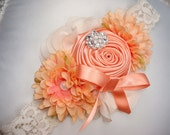 Baby Flower Headband - Coral Rosette Headband - Headband - Baby Headband - Photo Prop / Couture Coral Rosette Headband with Lace Headband