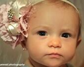Pink Baby Flower Headbands,Flower Headbands, Pink and Cream Flower Headband,  Photo Prop, Weddings, Special Occasion,