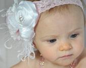 Baby Flower Headband, Headband, Rosette Headband, Baby, Infant Headband / White Rosette and White and Pink Silk Headband