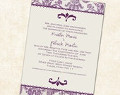 Purple wedding invitation or Bridal shower invitations with damask, any color, digital, printable file (item 301c)