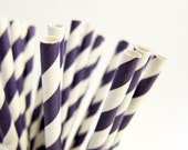 25 eggplant purple striped Paper Straws, AND Digital DIY straw tags (your color choice) Party Striped Straws biodegradable