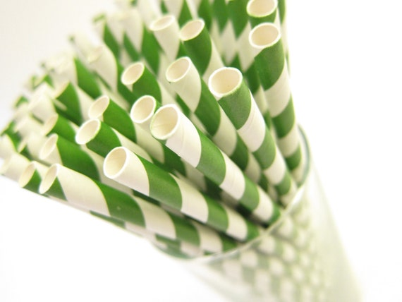 25 Hunter Green striped Paper Straws AND Digital DIY straw tags (your color choice), Party Striped Straws