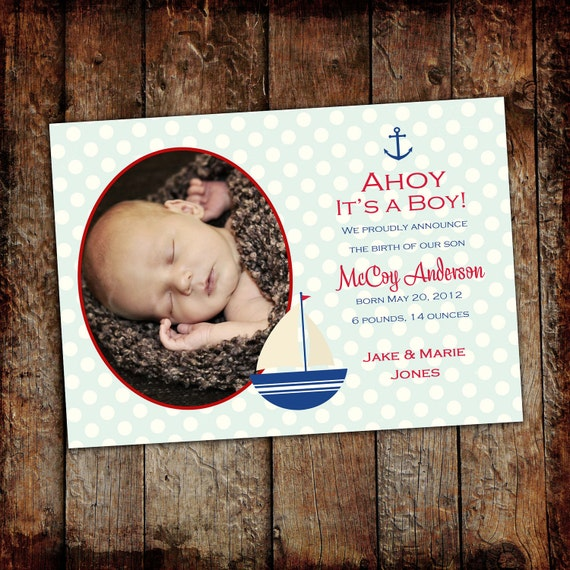 nautical birth announcement baby boy shower sip and see sprinkle sailboat polka dot couples ultrasound (item 429) shabby chic invitations