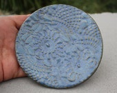 Mottled Blue Lace Round Soap Dish, Spoon Rest, Ring Rest