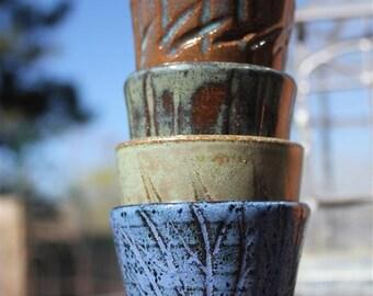 Set of Four Carved Sake Cups or Shot Glasses, Made Per Order