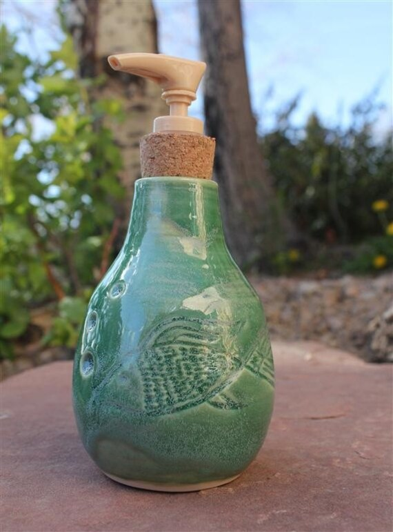 Fish carved green pump soap dispenser by mountainmudbabies for Fish soap dispenser