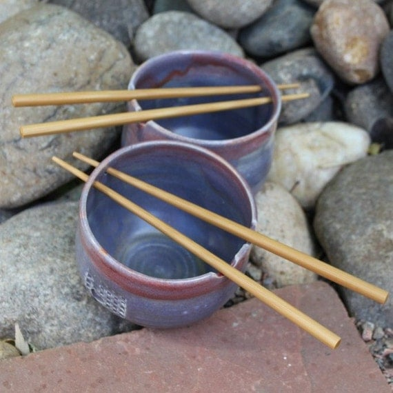 Pair of Wheel Thrown Rice or Noodle Bowls with Bamboo Chop Sticks