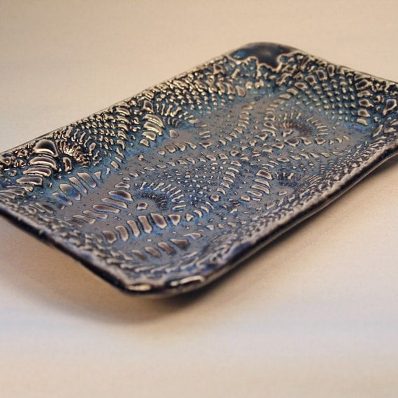 Deep Violet, Crotchet Textured Soap Dish, Butter dish, Jewelry Tray