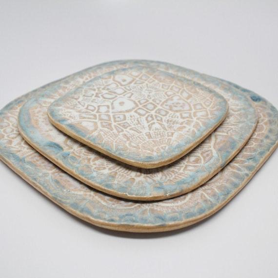 Trio of Square Lace Plates