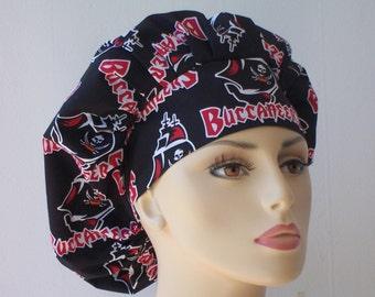Tampa Bucs Bouffant Surgical Scrub Hat - NFL Florida Tampa Bay Buccaneers- Go Bucs