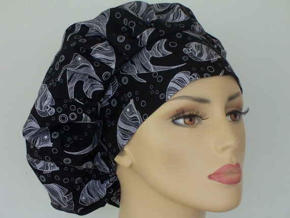 Bouffant Surgical Scrub Hat - Angel Fish in Black and White