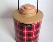 Vintage Tartan Red Yellow & Black Plaid Skotch Jug Cooler Half Gallon Made by The Hamilton Skotch Corp VGVC