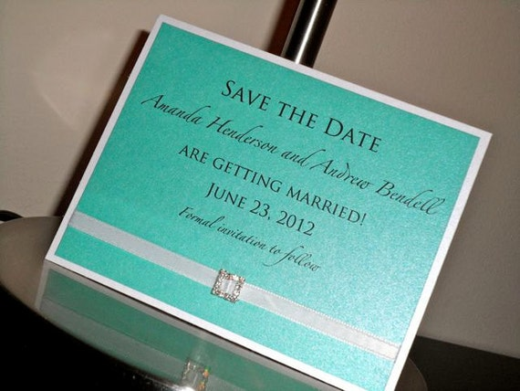 Save the Date - White and Tiffany Blue with White Ribbon and Small Rhinestone Buckle - sample