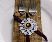 Crochet lace and burlap cutlery holder