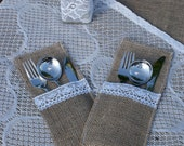 Silverware holders, lace and burlap, set of 12 - Littlewhiteboutique