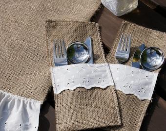 Set of 6 burlap cutlery holders