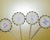 Yellow and Purple Cupcake Toppers, 20