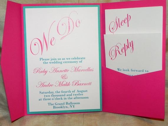 Wedding Invitations Turquoise: Items Similar To Turquoise, Fuchsia Wedding Invitation On Etsy
