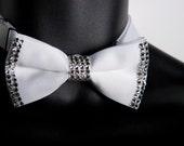 The Sharp Dressed Tie: White Bowtie With Swarovski Crystals