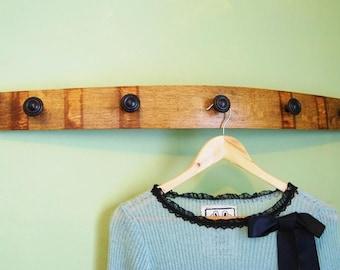 Wine Barrel Stave Coat Rack with Bronze Ring Knobs, French Oak Bedroom Furniture, Hat Rack, Home Accessories, Towel Rack
