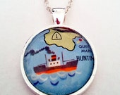Queen Mary Long Beach California 1969 Vintage Map Pendant with Necklace - OOAK - Necklace Options - Free Shipping