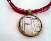 Watts Towers Los Angeles California 1969 Vintage Map Pendant with Necklace - OOAK - Necklace Options - Free Shipping
