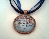 Marseille France Vintage Map Pendant with Necklace - OOAK - Necklace Options - Free Shipping