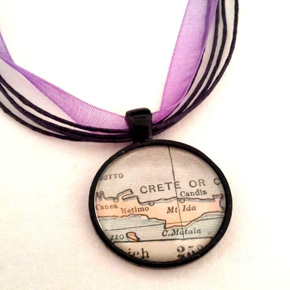 Crete Greece Vintage Map Pendant with Necklace - OOAK - Necklace Options - Free Shipping