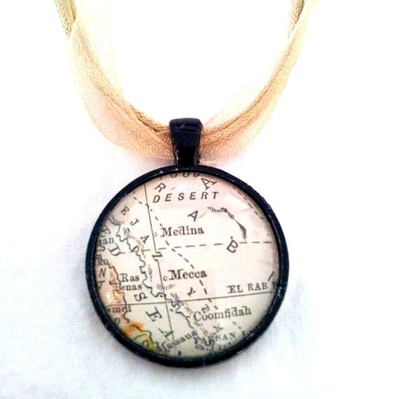 Mecca 1916 Vintage Map Pendant with Necklace - OOAK - Necklace Options - Free Shipping