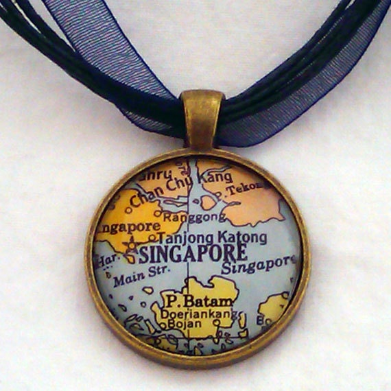 Singapore Vintage Map Pendant with Necklace - OOAK - Necklace Options - Free Shipping