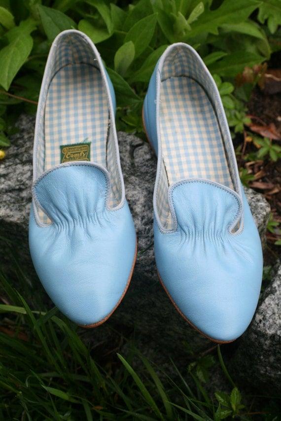 """1950s 1960s Powder Blue Daniel Green Comfy Ballet Flats Size 6.5"""""""