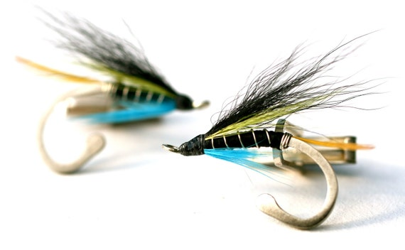 Fly Fishing Silver Cufflinks - Hand tied, Blue, black and yellow feathers