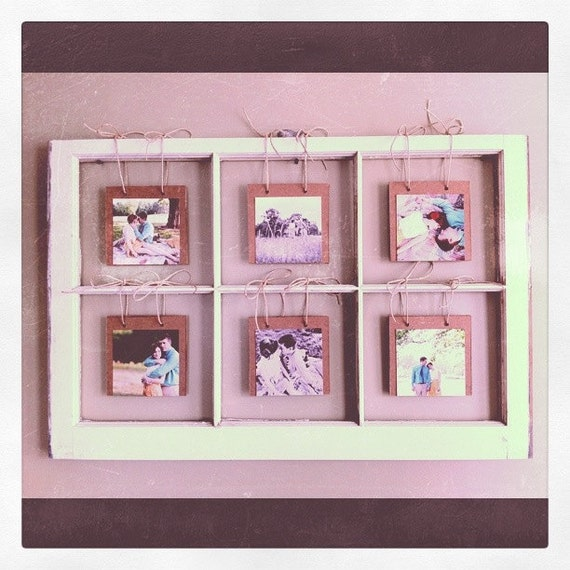 Items similar to window pane picture display on etsy for Using old windows as picture frames